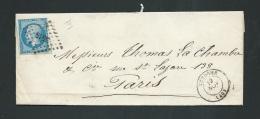 YVERT N° 14 Type II Sur Lac Oblitéré  Petits Chiffres 3515 ( Vendome  Dpt 41 ) En Nov 1862 -  Fab4917 - Poststempel (Briefe)