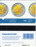 FINLAND - 2 Euro Coin(barcode At Middle Right), Turun Puhelin Telecard, Tirage 5000, Exp.date 12/03, Used - Finland