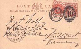 GREAT BRITAIN - POSTCARD 1880 S. KENSINGTON -> STUTTGART - 1840-1901 (Victoria)