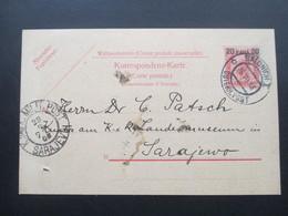 Österreich 1908 Levante Ganzsache P 16 Salonich - Sarajevo Dr. Carl Patsch Landesmuseum KuK Militär Post - Levante-Marken