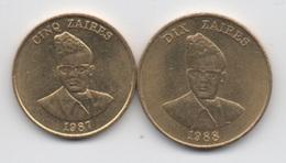 Zaïre : Lot De 2 Pièces : 5Z 1987 + 10Z 1988 (en Bon état) - Zaire (1971-97)