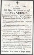 Image Mortuaire - Erquinghem - Paris XVIème - VILLERS Paul François Romain Jh - Décès