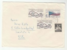 1968 Cheb CZECHOSLOVAKIA  COVER Bezdez CASTLE,  MOUNTAIN, FLAG MAP  Stamps To Germany - Czechoslovakia
