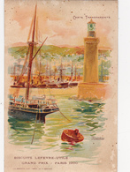 CPA à Système Carte Transparente Contre La Lumière ALGER Port Phare Grand Prix Paris 1900 Biscuits L.U - Contraluz