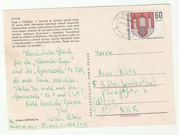 1968 CZECHOSLOVAKIA COVER Stamps HERALDIC LION ARMS  (postcard Historic Cheb, Dog ) - Czechoslovakia