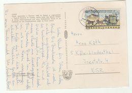 1968 CZECHOSLOVAKIA COVER Stamps HORSE COACH  (postcard Cheb Castle) - Cartas