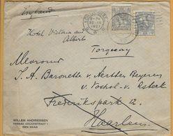 8Nb-966: N°62: 'sGRAVENHAGE 23.III 1921 > Haarlem+N°62: HAARLEM-STATION>Torquay England: Bijgefrankeerd Voor Buitenland - 1891-1948 (Wilhelmine)