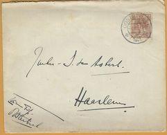 8Nb-965: N°61: 'sGRAVENHAGE 23.III 1921 > Haarlem+N°62: HAARLEM-STATION>Torquay England: Bijgefrankeerd Voor Buitenland - 1891-1948 (Wilhelmine)