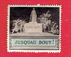 GUERRE 1914 1918 VIGNETTE PATRIOTIQUE DELANDRE 1789 1916 JUSQU AU BOUT POSTER STAMP CINDERELLA - Commemorative Labels