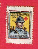 GUERRE 1914 1918 VIGNETTE PATRIOTIQUE POSTER STAMP CINDERELLA SECOURS AUX BLESSES MILITAIRES ILS SE BATTENT POUR NOUS - Commemorative Labels