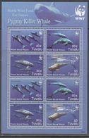 TUVALU, 2006,  MNH, WWF, WHALES, PYGMY KILLER WHALES, SHEETLET OF 2 SETS - W.W.F.