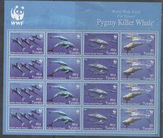 TUVALU, 2006,  MNH, WWF, WHALES, PYGMY KILLER WHALES, SHEETLET OF 4 SETS - W.W.F.