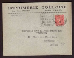 France -lettre Très Propre - Oblitération - Daguin - TOUL (Meurthe Et Moselle) - Sur Semeuse 50c Lignée - 21/2/1930 - Postmark Collection (Covers)