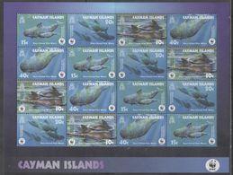 CAYMAN ISLANDS, 2003,  MNH, WWF, WHALES, PILOT WHALES, SHEETLET OF 4 SETS - W.W.F.