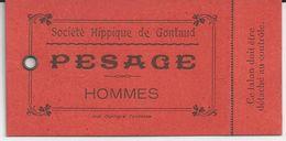 GONTAUD SOCIETE HIPPIQUE DE GONTAUD TICKET CARTONNER DE PESAGE HOMMES - France