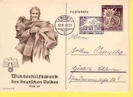 GERMANIA  REICH  - POSTKARTE - WINTERHILFSWERK DES DEUTSCHEN VOLKES 1938/39 -  VIAGGIATA  PER VIENNA 1939 - Allemagne