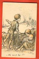 GBS-07 Illustrateur Poulbot, La Guerre, Arrivée De Militaires. 1915. Non Circulé - Illustrateurs & Photographes