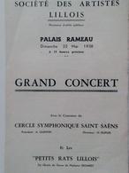 Programme De La Société Des Artistes Lillois Palais Rameau 1938  Cercle Symphonique Saint Saens  Les Petits Rats Lillois - Programme