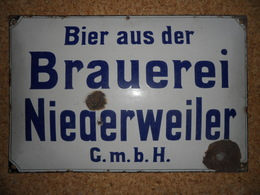 Plaque émaillée Brauerei Niederweiler - Brands