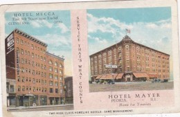 Illinois Peoria Hotel Mayer & Hotel Mecca Cleveland Ohio 1927 - Peoria