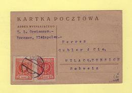 Rzeszow - Carte Destination Suisse - 1925 - 1919-1939 Republic