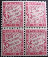 LOT FD/1477 - 1893 - T. TAXE - BLOC DE 4 TIMBRES NEUFS** - N°32 - Cote : 52,00 € - Postage Due