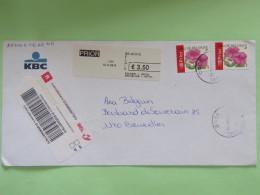 Belgium 2005 Registered Cover To Bruxelles - Flowers - Belgique