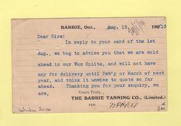 Barrie - Entier Postal Repique The Barrie Tanning - 1913 - Destination Suisse - 1911-1935 Règne De George V