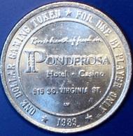 $1 Casino Token. Ponderosa, Reno, NV. 1989. D51. - Casino