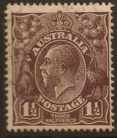 AUSTRALIA 1918 1 1/2d Bl-brown KGV SG 58 U #AIO151 - Used Stamps