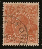 AUSTRALIA 1926 5d P13x12.5 KGV SG 103a U #AIO241 - 1913-36 George V : Heads