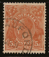 AUSTRALIA 1926 5d P13x12.5 KGV SG 103a U #AIO241 - 1913-36 George V: Köpfe