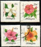 4 Various Malaysian Hibiscus, Malaysia Stamp SC#290-293 Used Set. - Malaysia (1964-...)
