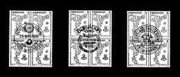 """"""" CARTE GEOGRAPHIQUE """" FEROE 1975. N° YT 1 3 Blocs De 4 Oblitérés Avec 3 Oblitérations Différentes. Parfait état. - Färöer Inseln"""
