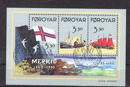 "FEROE 1990 N° YT BF 4 Oblitéré : "" 50 ANS DU DRAPEAU FEROIEN "". Parfait état. - Faroe Islands"