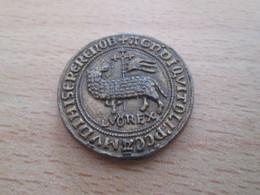BP PIECE PUBLICITAIRE FIN 60's COPIES DE MONNAIES TRESOR DES ROIS DE FRANCE N°9 LOUIS LE HUTIN AGNEL D'OR 1314 - Counterfeits