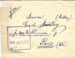 "WWI - Petite Enveloppe De Bucarest ( Roumanie ) Avec Cesure  "" CONTROLE POSTAL MARSEILLE "" - 1. Weltkrieg 1914-1918"