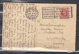 Postkaart Van Bruxelles Met Vlagstempel Spa (Belgique) Eaux-Bains Rhumatisme Coeur-Anémie - Targhette