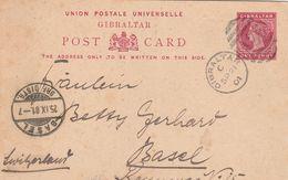 Gibraltar Entier Postal Pour La Suisse 1901 - Gibilterra