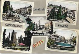 Veneto-treviso-conegliano Veneto Corso Rossetti Corso Mazzini Vedute Anni 50/60 Saluti Da Conegliano Veneto - Italia