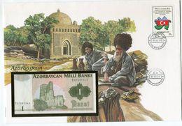 AZERBAIDJAN ENVELOPPE AVEC LE TIMBRE N°77 (INDEPENDANCE) + BILLET NEUF - Azerbaïdjan