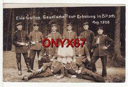 Carte Photo Militaire Allemand BITSCH-BITCHE (Moselle) Groupe Soldats Septembre 1908 Photo Jungmann, Strasbourg, Dieuze - Bitche