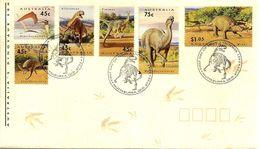 AUSTRALIA FDC DINOSAURS ANIMALS SET OF 6 STAMPS DATED 01-10-1993 CTO SG? READ DESCRIPTION!! - Cartas