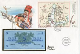 FINLANDE ENVELOPPE AVEC LE BLOC-FEUILLET N°1 (MOYENS DE TRANSPORT DU COURRIER) + BILLET NEUF - Cartas