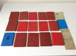 19 Mitgliedsbucher  Mit Marken  +  1000 Marken - 4 Scans - Documents Historiques