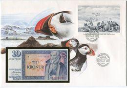ISLANDE ENVELOPPE AVEC LE BLOC-FEUILLET N°7 (JOURNEE DU TIMBRE) + BILLET NEUF - Lettres & Documents