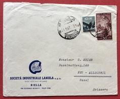 DEMOCRATICA L.50+10 Tariffa Per L'estero BUSTA PUBBLICITARIA SOC.IND.LANIERA BIELLA PER LA SVIZZERA  IL 24/9/47 - 1946-60: Marcofilia