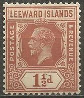 Leeward Islands - 1929 King George V 1.5d MLH *  SG 64  Sc 66 - Leeward  Islands