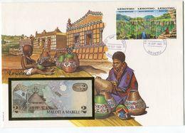 LESOTHO ENVELOPPE AVEC 3 TIMBRES (MONTS MALOTI) + BILLET NEUF - Lesotho (1966-...)