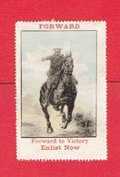 GUERRE 1914 1918 VIGNETTE PATRIOTIQUE DELANDRE FORWARD TO VICTORY ENLIST NOW POSTER STAMP CINDERELLA - Vignettes Militaires
